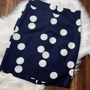 Banana Republic Navy and Cream Polka Dot Skirt